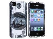 Hundred Dollar Snap on Rubber Coated Case + Colorful Diamond Screen Protector compatible with Apple® iPhone® 4 / 4S