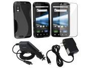Black Case Cover Skin+Guard+Car Wall Charger compatible with Motorola Atrix 4G MB860