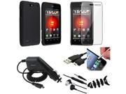 7 Accessory Black Hard Case+SP+USB+Charger+Headset compatible with Motorola Droid 4 XT894
