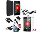 Mega Accessory Pack Black Case+LCD+Headset+USB compatible with Motorola Droid 4 XT894