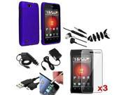 Mega Accessory Pack Blue Case+LCD+Headset+USB compatible with Motorola Droid 4 XT894