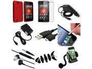 9 Accessory Red Hard Case+LCD+Charger+USB+Mount compatible with Motorola Droid 4 XT894
