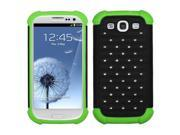 Black / Electric Green Luxurious Lattice Dazzling Total Defense Protector Cover for Samsung Galaxy SIII S3 (i747 / L710 / T999 / i535 / R530 / i9300)