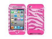 MYBAT Zebra Skin (Pink/Hot Pink) Diamante/Hot Pink TUFF Hybrid Phone Protector Cover Compatible With Apple® iPod touch (4th generation)