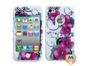 Valor Morning Petunias/Solid White TUFF Hybrid Phone Protector Cover For Apple iPhone 4/4s