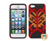 Apple iPhone 5/5S Case, Butterflykiss Dual Layer [Shock Absorbing] Protection Hybrid Metal PC/Silicone Case Cover With Diamond for Apple iPhone 5/5S, Black/Red