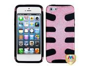 Apple iPhone 5/5S Case, Fishbone Dual Layer [Shock Absorbing] Protection Hybrid Glitter PC/Silicone Case Cover for Apple iPhone 5/5S, Pink/Black