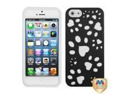 MYBAT Rubberized Black/Solid White Dog Paw Fishbone Phone Protector Cover for Apple® iPhone® 5 5S