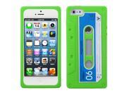 Apple iPhone 5/5S Case, 3D Cassette Rubber Silicone Soft Skin Gel Case Cover for Apple iPhone 5/5S, Neon Green/Blue