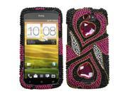 MYBAT Hot Pink Hypnotic Hearts Diamante Phone Protector Cover for HTC One S