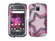 MYBAT Twin Stars Diamante Protector Faceplate Cover Compatible With LG P505(Phoenix), Thrive