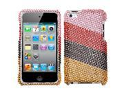 MYBAT Hard Plastic Diamante Pink/Red Stripes Protector Compatible With Apple® iPod Touch 4