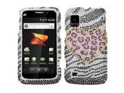 MYBAT Bling Crystal Rhinhstone Hard Snap On Protector Cover Case Compatible With ZTE Warp N860 - Playful Leopard