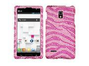 MYBAT Hard Plastic Diamante Hot Pink Zebra Skin Phone Protector Compatible With LG Optimus L9 P769