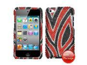 MYBAT Apple® iPod Touch 4G 4th Generation Premium Full Diamond Crystals Bling Protective Case Cover Black with Red Jungle Fever Design + Additional High Quality Screen Shield Protector