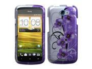 MYBAT Twilight Petunias 2D Silver Faceplate Hard Plastic Protector Snap-On Cover Case Compatible With HTC One S