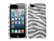 Apple iPhone 5/5S Case, Zebra Rhinestone Diamond Bling Hard Snap-in Case Cover for Apple iPhone 5/5S, Black/Silver