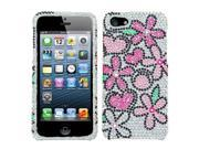 Apple iPhone 5/5S Case, Fantastic Flowers Rhinestone Diamond Bling Hard Snap-in Case Cover for Apple iPhone 5/5S, Silver/Pink