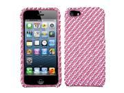 White/Pink Stripe Bling Diamante Case Cover Protector for iPhone 5
