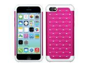 Hot Pink / Solid White Luxurious Lattice Dazzling TotalDefense Protector Cover Compatible With Apple iPhone 5C