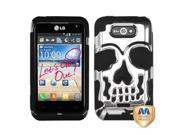 MYBAT Silver Plating/Black Skullcap Hybrid Protector Cover Compatible With LG MS770 (Motion 4G), LW770 (Optimus Regard)
