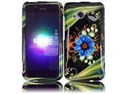 HRW for HTC Droid Incredible 4G LTE 6410 Fireball - Design Cover - Aqua Flower