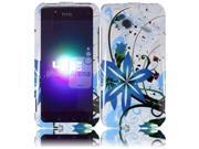 HRW for HTC Droid Incredible 4G LTE 6410 Fireball Design Cover - Blue Splash