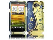 HRW for HTC One X Rubberized Design Cover - Royal Swirl