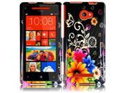 HRW for HTC Windows Phone 8X HTC 6990 HTC Zenith(AT & T, T Mobile, Verizon) Design Cover - Chromatic Flower