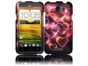 HRW for HTC One X Rubberized Design Cover - Colorful Hearts