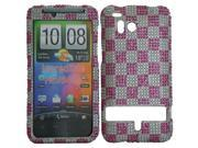 HRW for HTC Thunderbolt 6400 / Incredible HD Full Diamond Cover - Silver With Pink Tarta
