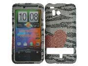 HRW for HTC Thunderbolt 6400 / Incredible HD Full Diamond Cover - Hearts &Zebra