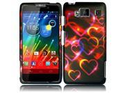 HRW for Motorola Droid Razr Maxx HD XT926M(Verizon) Rubberized Design Cover - Colorful Hearts