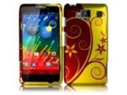 HRW for Motorola Droid Razr Maxx HD XT926M(Verizon) Rubberized Design Cover - Elegant Swirl