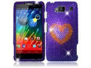 HRW for Motorola Droid Razr Maxx HD XT926M(Verizon)(T Mobile) Full Diamond Cover - Purple Heart