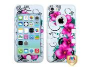 Morning Petunias/Solid White TUFF Hybrid Phone Protector Case compatible with Apple iPhone 5C