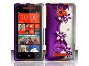 BJ For HTC Windows Phone 8X 6990/Zenith Rubberized Hard Design Case Cover - Purple/Silver Vines