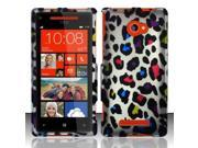 BJ For HTC Windows Phone 8X 6990/Zenith Rubberized Hard Design Case Cover - Colorful Leopard