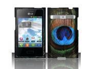 BJ For LG Optimus Logic L35g/Dynamic L38c Rubberized Hard Design Case Cover - Blue/Green Feathers