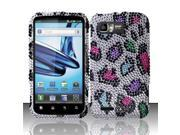 BJ For Motorola Atrix 2 MB865 Full Diamond Design Case Cover - Colorful Leopard
