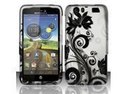 BJ For Motorola Atrix 3 HD MB886 (AT&T) Rubberized Design Case Cover - Black Vines