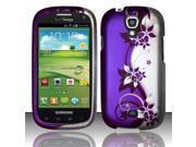 BJ For Samsung Stratosphere 2 i415 (Verizon) Rubberized Design Case Cover - Purple/Silver Vines