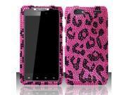 BJ For Motorola Droid Razr MAXX XT913/XT916 (Verizon) Full Diamond Design Case Cover - Pink Leopard FPD