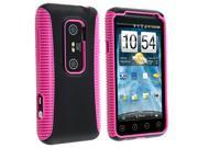 eForCity Hot Pink TPU/Black Plastic Hybrid Case + Black Travel Charger + Reusable Screen Protector Bundle Compatible With HTC EVO 3D