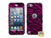 MYBAT Zebra Skin Hot Pink / Black (2D Silver) / Black TUFF Hybrid Phone Protector Cover compatible with Apple iPod touch (5th generation)