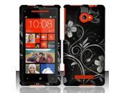 BJ For HTC Windows Phone 8X 6990 / Zenith (AT&T, T-Mobile, Verizon) Rubberized Design Cover - White Flowers