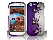 For BLU Life One L120 - Rubberized Design Cover - Purple / Silver Vines