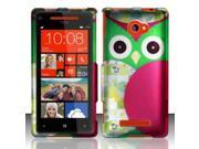 BJ For HTC Windows Phone 8X 6990 / Zenith (AT&T, T-Mobile, Verizon) Rubberized Design Cover - Owl