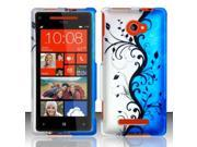 BJ For HTC Windows Phone 8X 6990 / Zenith (AT&T, T-Mobile, Verizon) Rubberized Design Cover - Blue Vines