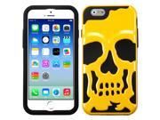 iPhone 6 Case - Rubberized Hybrid Case Cover for Apple iPhone 6 (4.7-inch), Solid Pearl Yellow / Black Skullcap